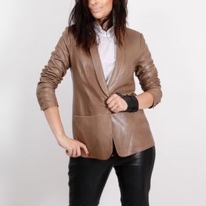 VINCE Womens Beige Leather Jacket Blazer Size 8